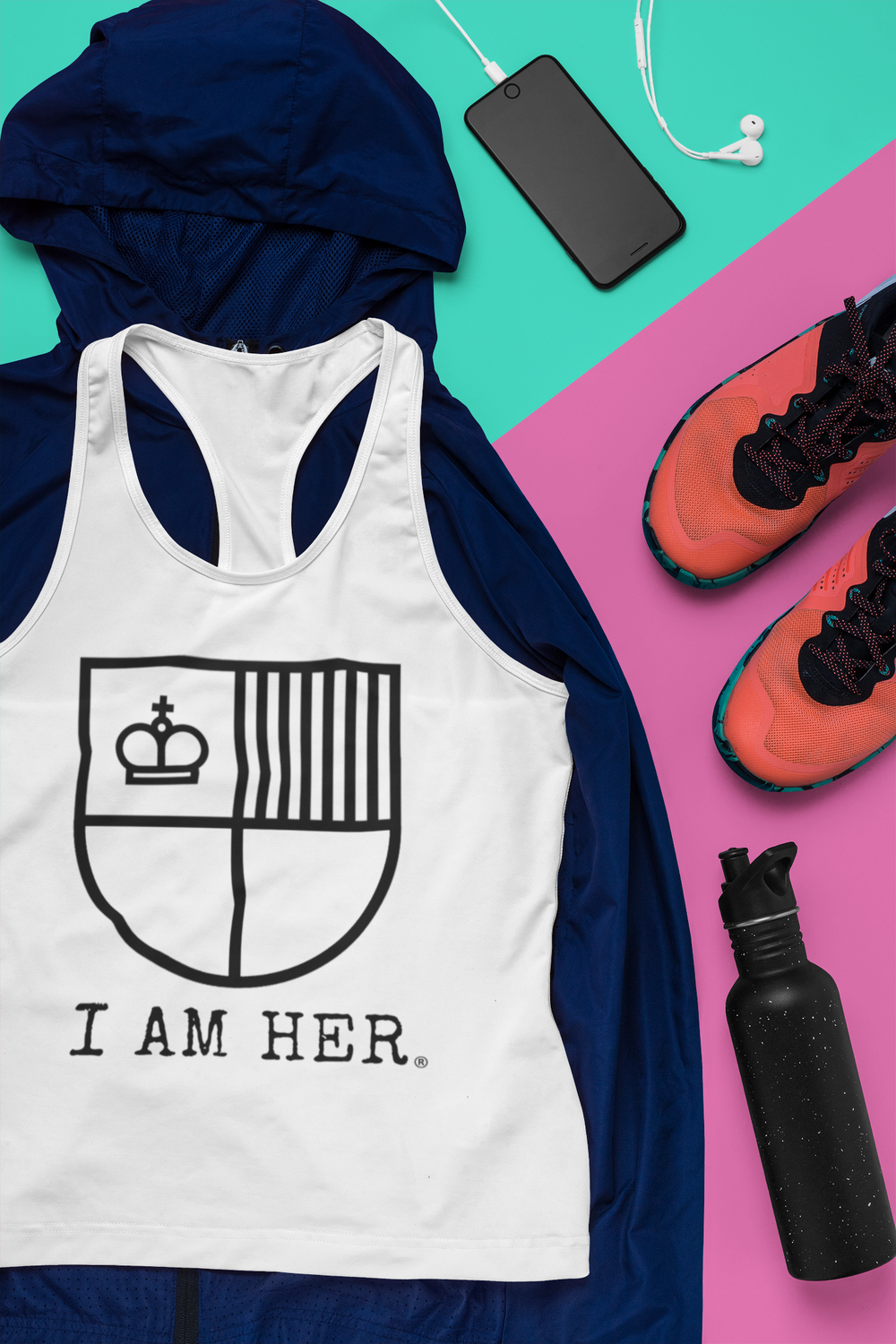 I AM HER Shield Women's Racerback Tank Tops - I AM HER Apparel, LLC