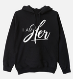 """I AM HER"" Signature Women's Hooded Sweatshirt - Black - I AM HER Apparel, LLC"