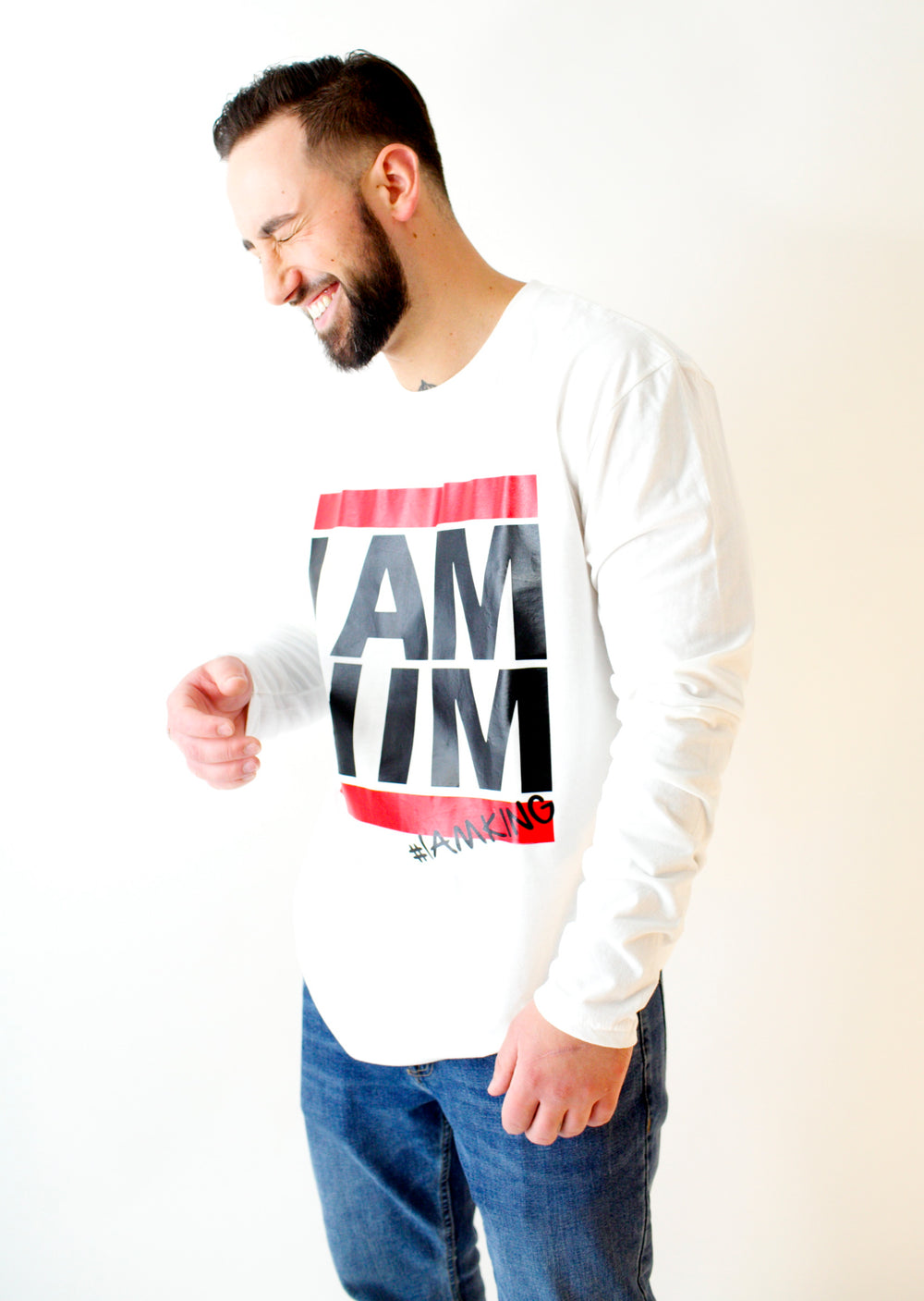 I AM HIM X I AM KING – Casual Men's Longsleeve Shirt - White - I AM HER Apparel, LLC