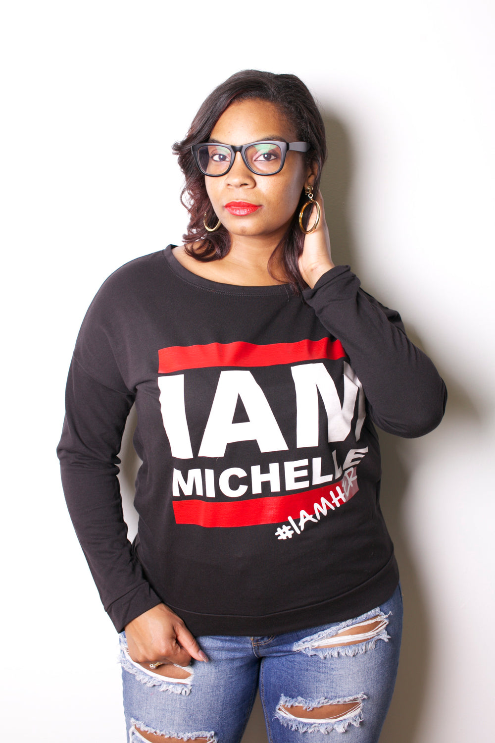 I AM MICHELLE - Women's Long Sleeve Tee - Black - I AM HER Apparel, LLC