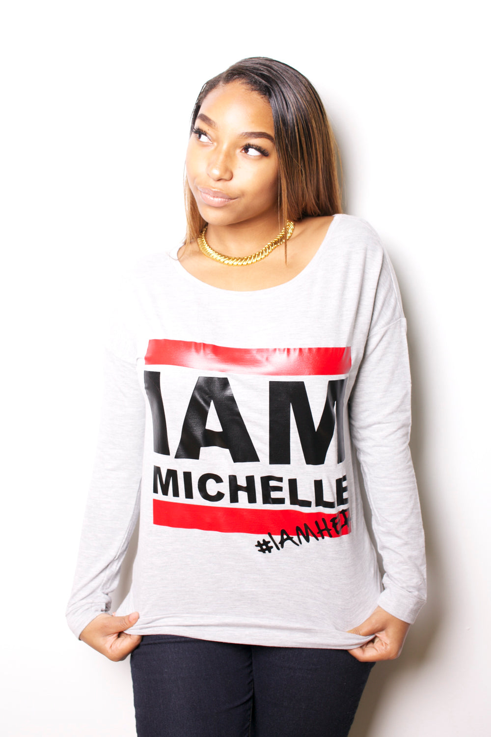 I AM MICHELLE - (FLOTUS Inspired) Women's Long Sleeve - Gray - I AM HER Apparel