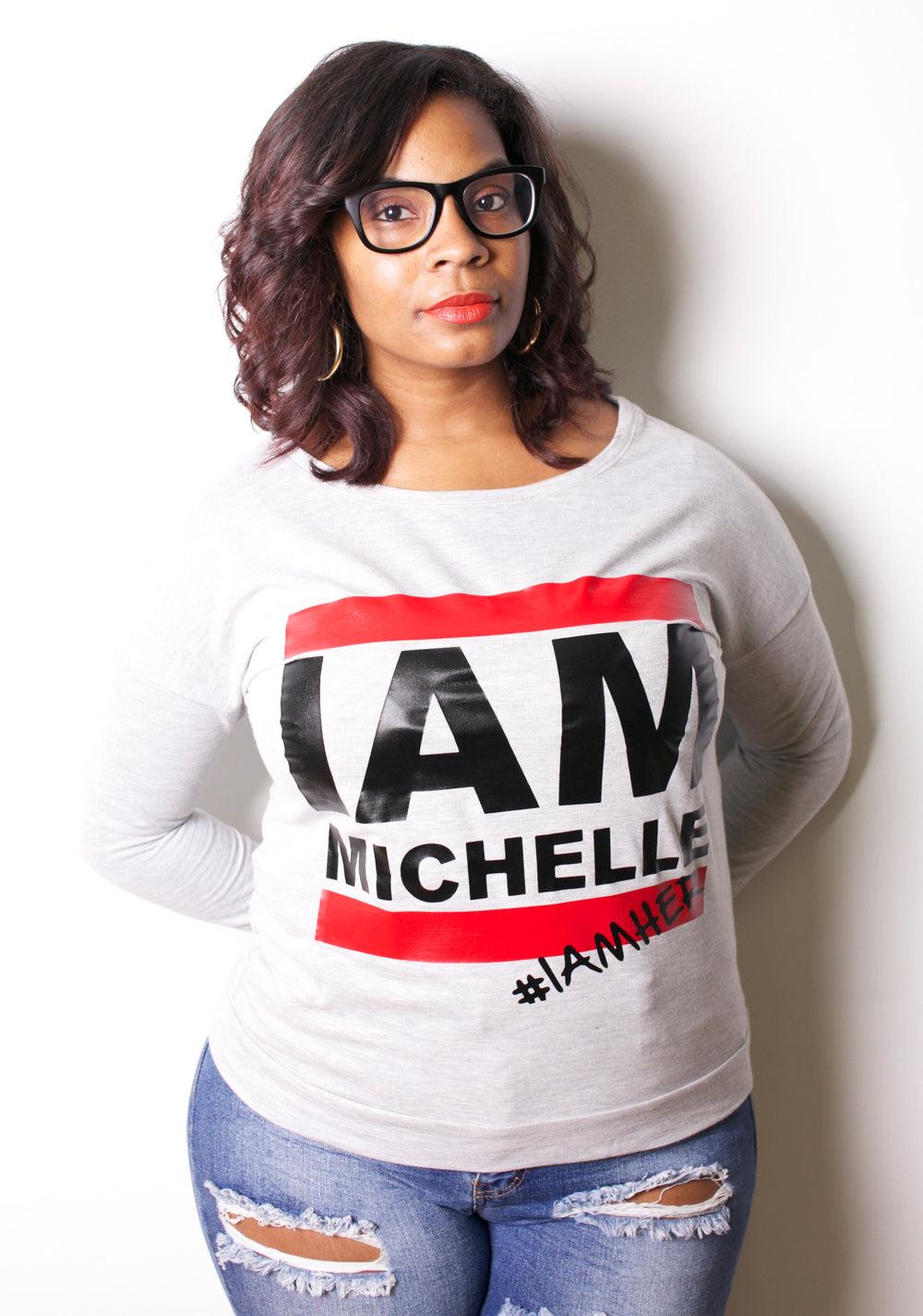 I AM MICHELLE - (FLOTUS Inspired) Women's Long Sleeve - Gray - I AM HER Apparel, LLC