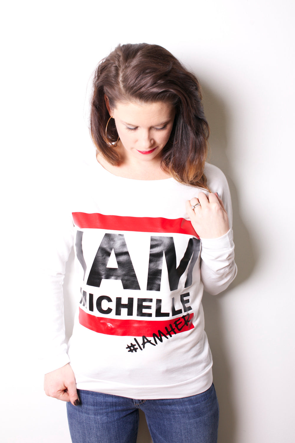 I AM MICHELLE (FLOTUS Inspired) - Women's Long Sleeve - White - I AM HER Apparel, LLC