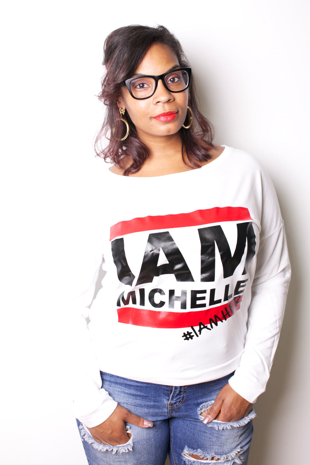 I AM MICHELLE - Women's Long Sleeve Tee - White - I AM HER Apparel, LLC