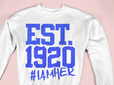 Zeta Phi Beta Inspired - EST. 1920 Women's Crewneck Sweatshirt - White - I AM HER Apparel, LLC