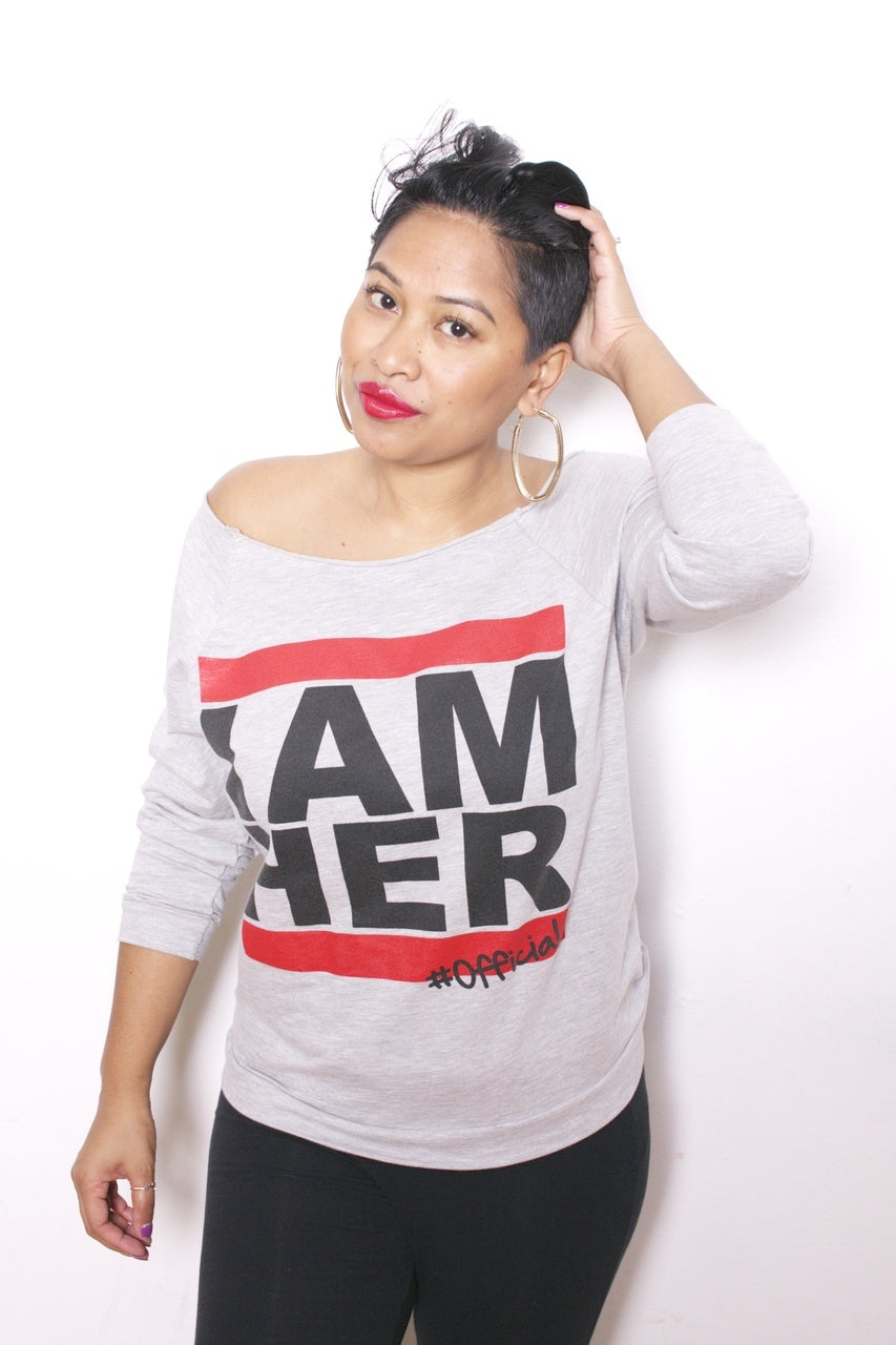 I AM HER #Official - Statement Women's Wideneck 3/4 Sleeve - Gray