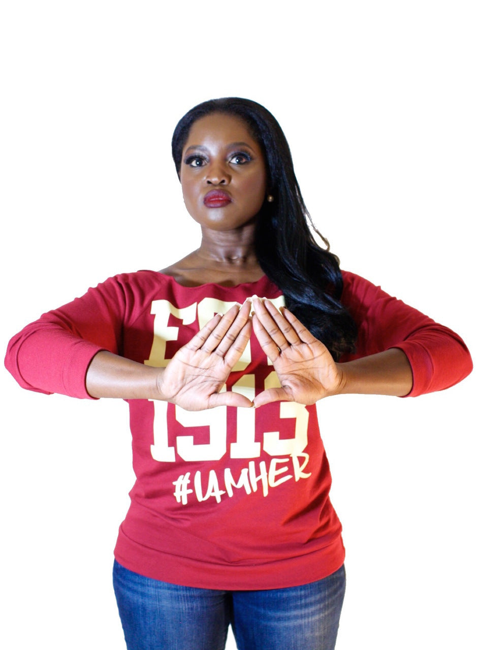 Delta Sigma Theta Inspired - EST. 1913 Women's Wideneck Top - I AM HER Apparel, LLC