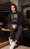 I AM HER Shield Cropped Fleece Hoodie - Black/White