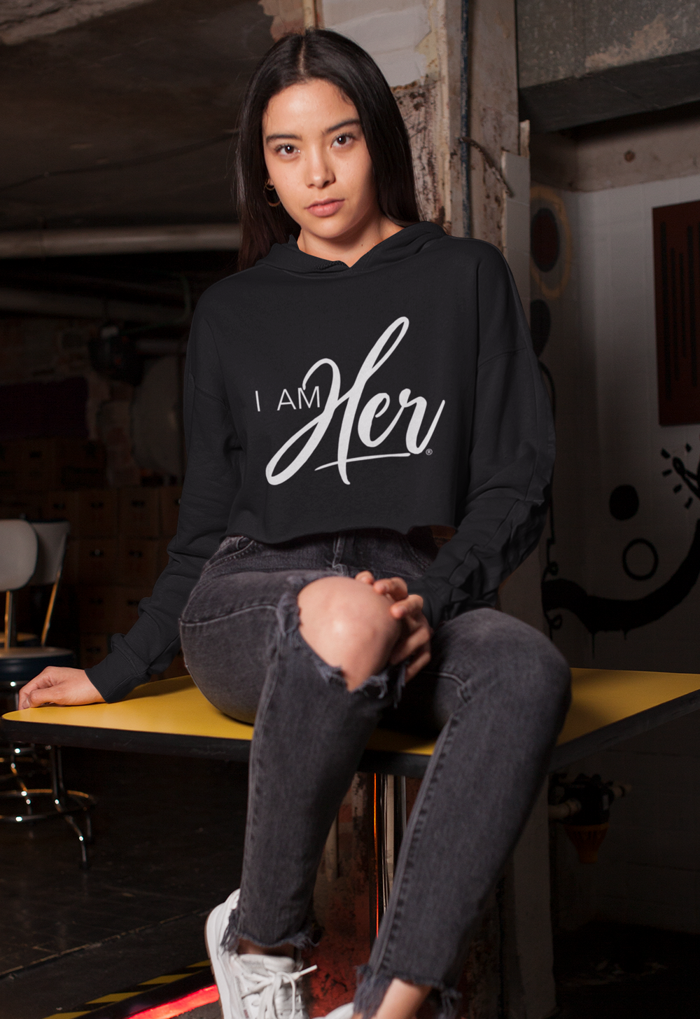 """I AM HER"" Signature Cropped Fleece Hoodie"