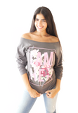 Female wearing Gray Women's Women's Wideneck Off Shoulder Top with 3/4 sleeve for women with saying, I AM HER with Rose design in pink. For the woman who unapologetically dares to be fearless with style and grace!