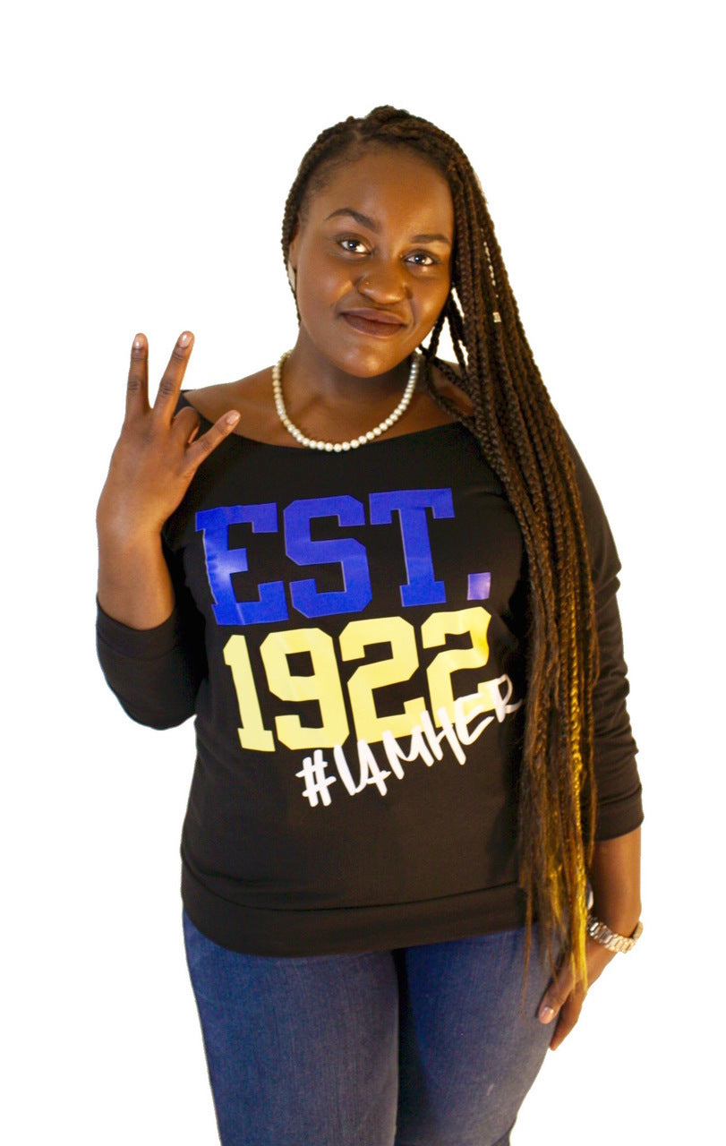 Sigma Gamma Rho Inspired - EST. 1922 Women's Wideneck Top - I AM HER Apparel, LLC