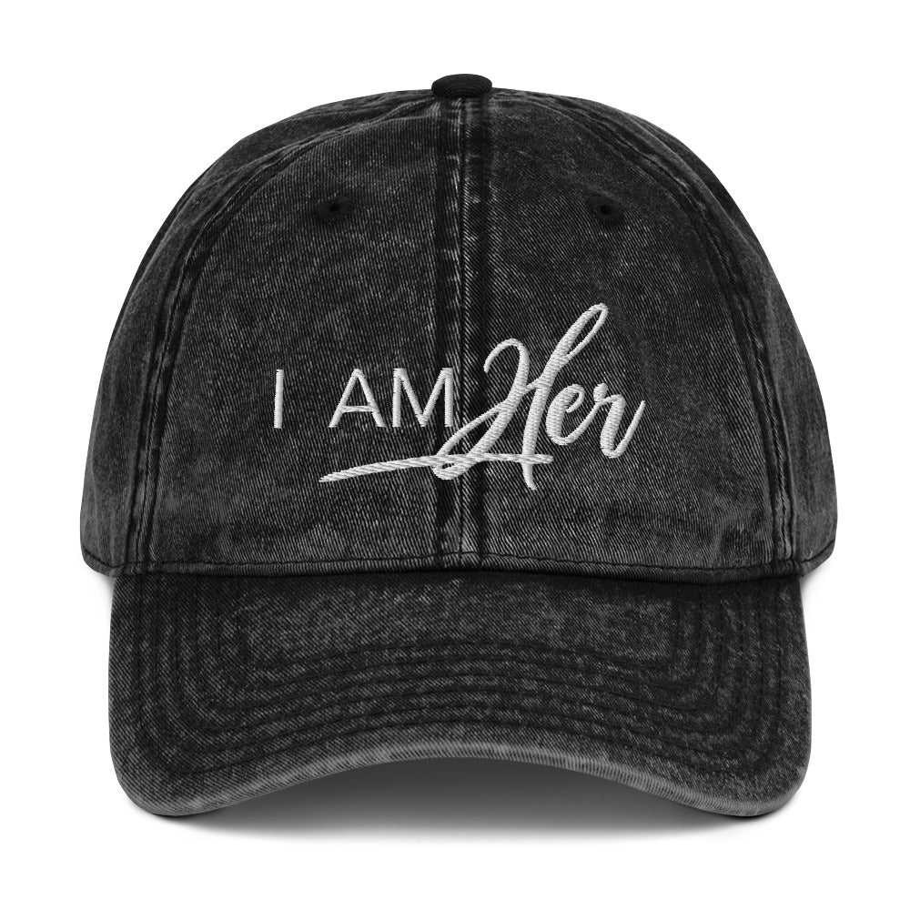 I AM HER Signature Vintage Denim Cap - I AM HER Apparel