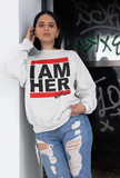 I AM HER Women's Crewneck Sweatshirt - White - I AM HER Apparel