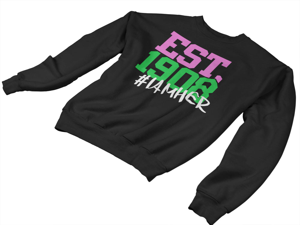 Alpha Kappa Alpha Inspired - EST. 1908 Women's Crewneck Sweatshirt - Black - I AM HER Apparel, LLC
