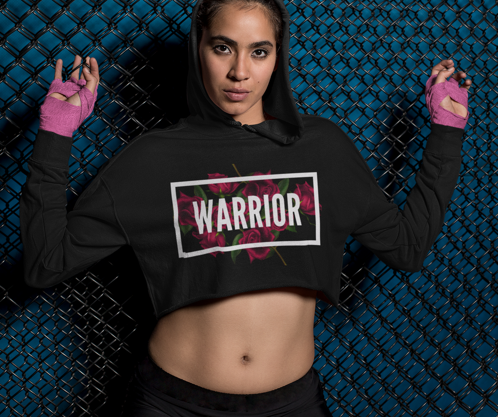WARRIOR... Statement Cropped Fleece Hoodie