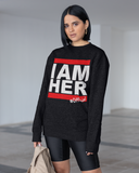 I AM HER Women's Crewneck Sweatshirt - Black - I AM HER Apparel, LLC
