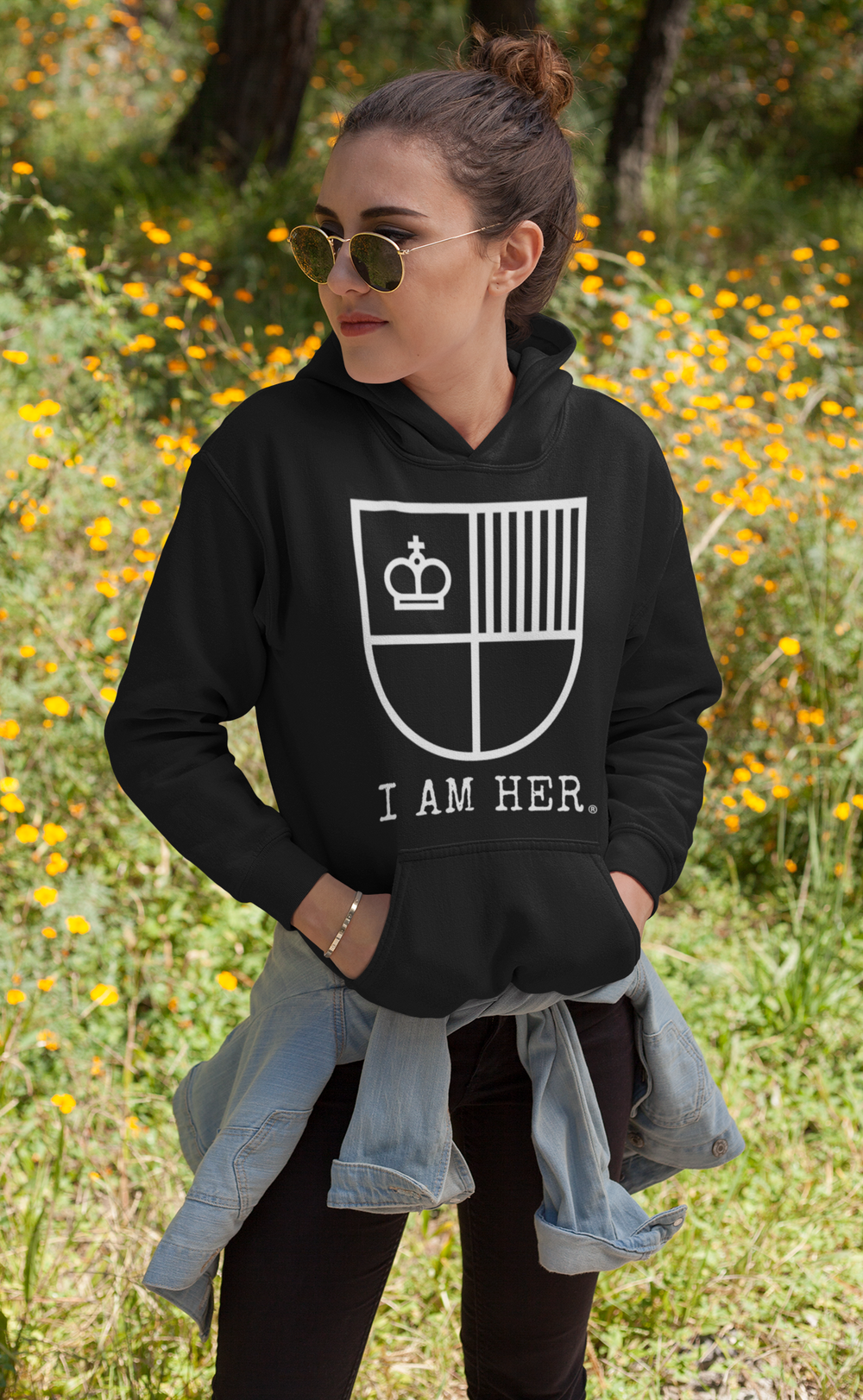 """I AM HER"" Shield Women's Hooded Sweatshirt - Black/White - I AM HER Apparel, LLC"