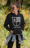I AM HER Women's Hooded Sweatshirt - Black/White - I AM HER Apparel, LLC