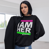 I AM HER Women's Crewneck Sweatshirt - Pink & Green - I AM HER Apparel, LLC