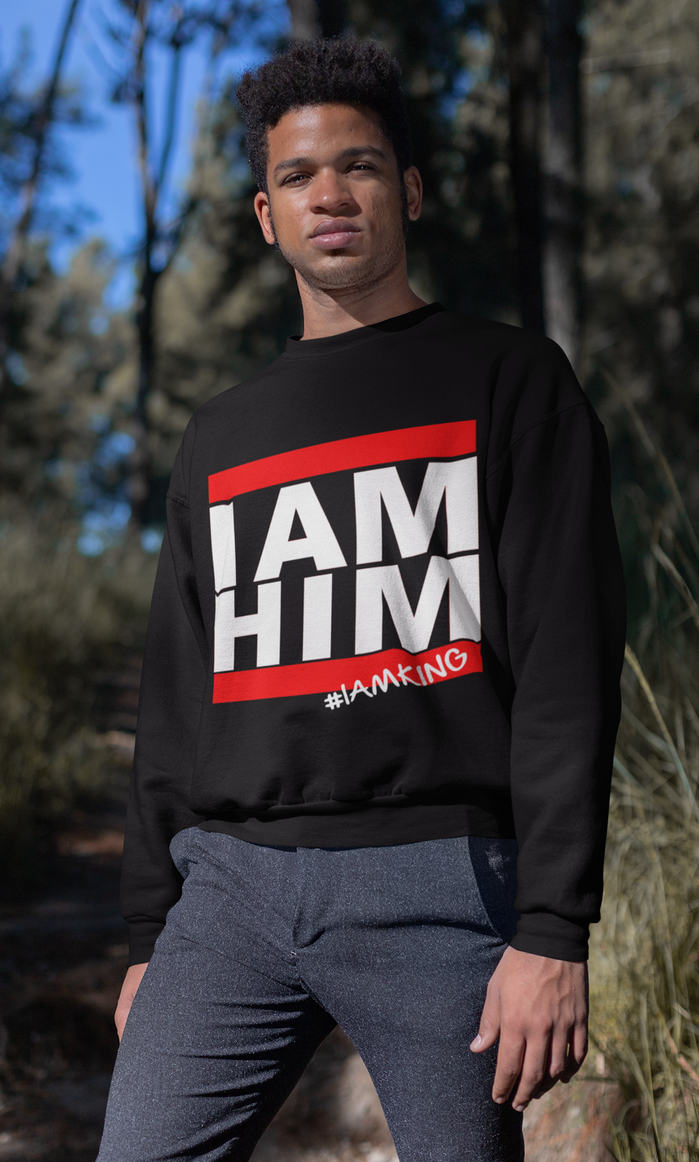 I AM HIM X I AM KING Casual Mens Crewneck Sweatshirt - Black - I AM HER Apparel, LLC