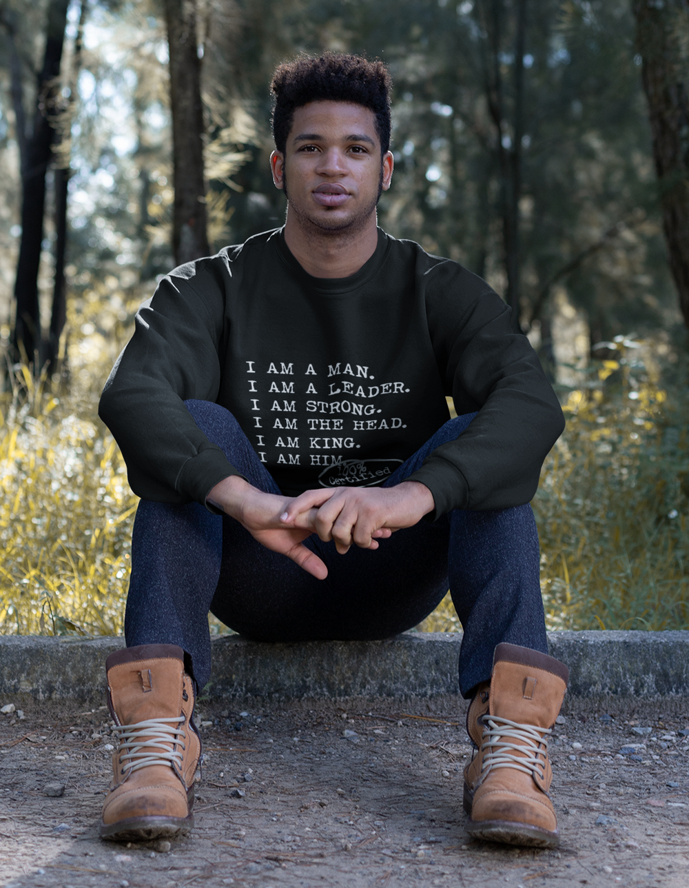 I AM A MAN Casual Mens Crewneck Sweatshirt - I AM HER Apparel, LLC
