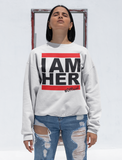 I AM HER Women's Crewneck Sweatshirt - White - I AM HER Apparel, LLC