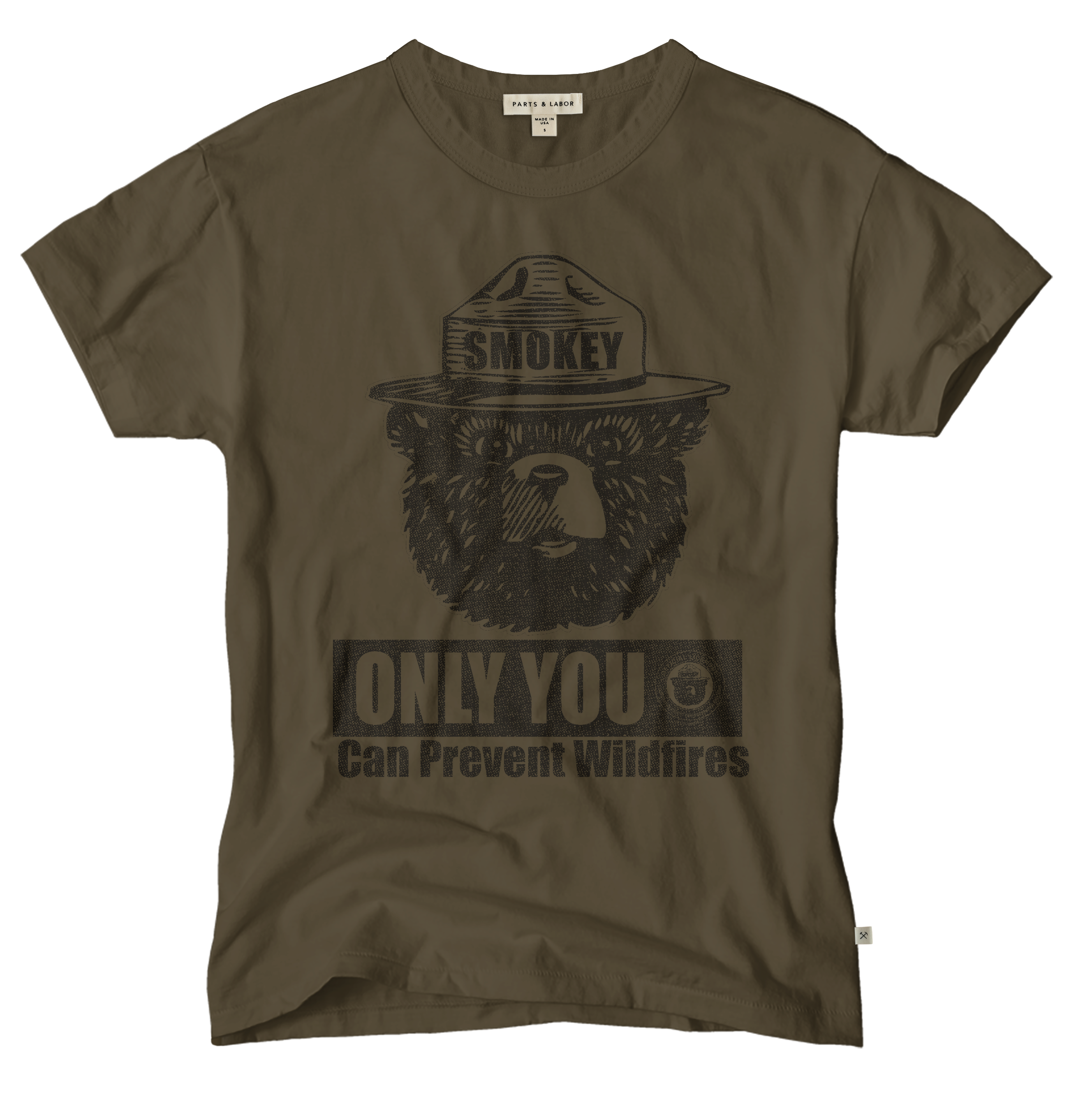 Smokey Bear Only You Can Prevent Wildfires Vintage Graphic T-Shirt - Brown