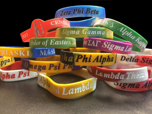 Greek Letter Silicone Wristbands with Organization Name