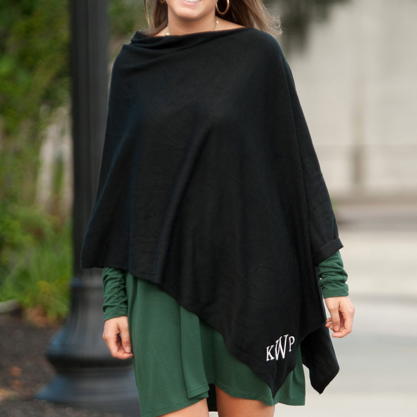 Custom Embroidered Poncho - Black