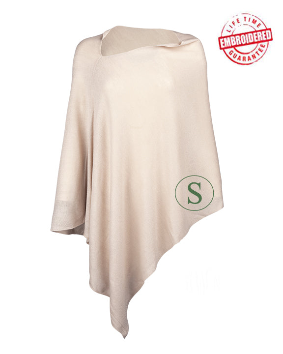 Custom Embroidered Poncho - Cream