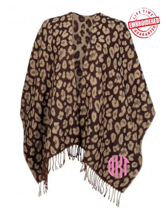 Custom Embroidered Leopard Print Shawl