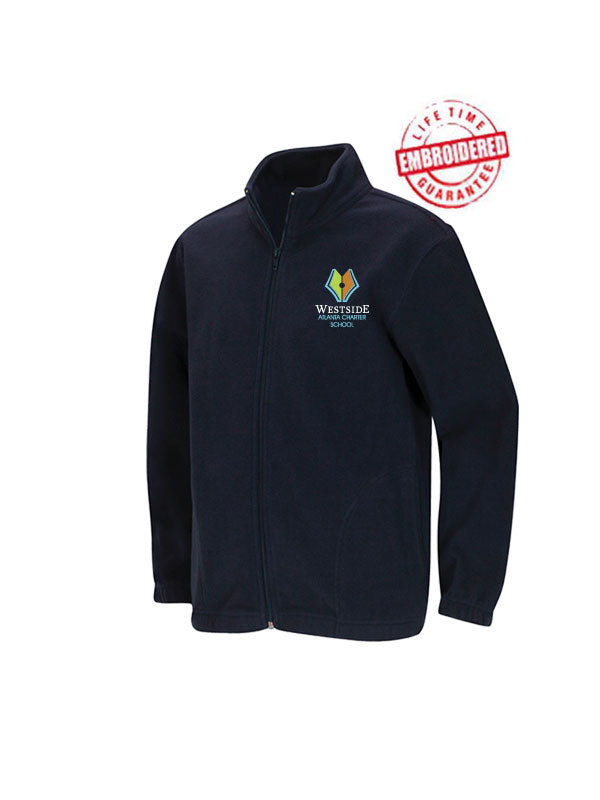 Unisex Youth/Adult Polar Fleece Jacket with Embroidered WACS Logo in Navy
