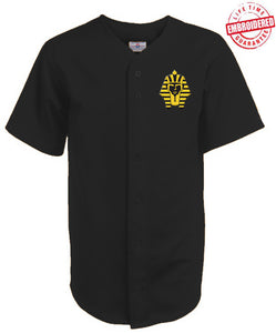 Alpha Phi Alpha Cloth Baseball Jersey with Sphinx Icon, Black (TW)- Embroidered with Lifetime Guarantee