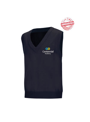 Unisex V-Neck Sweater Vest with Embroidered Centennial Academy Logo, Navy