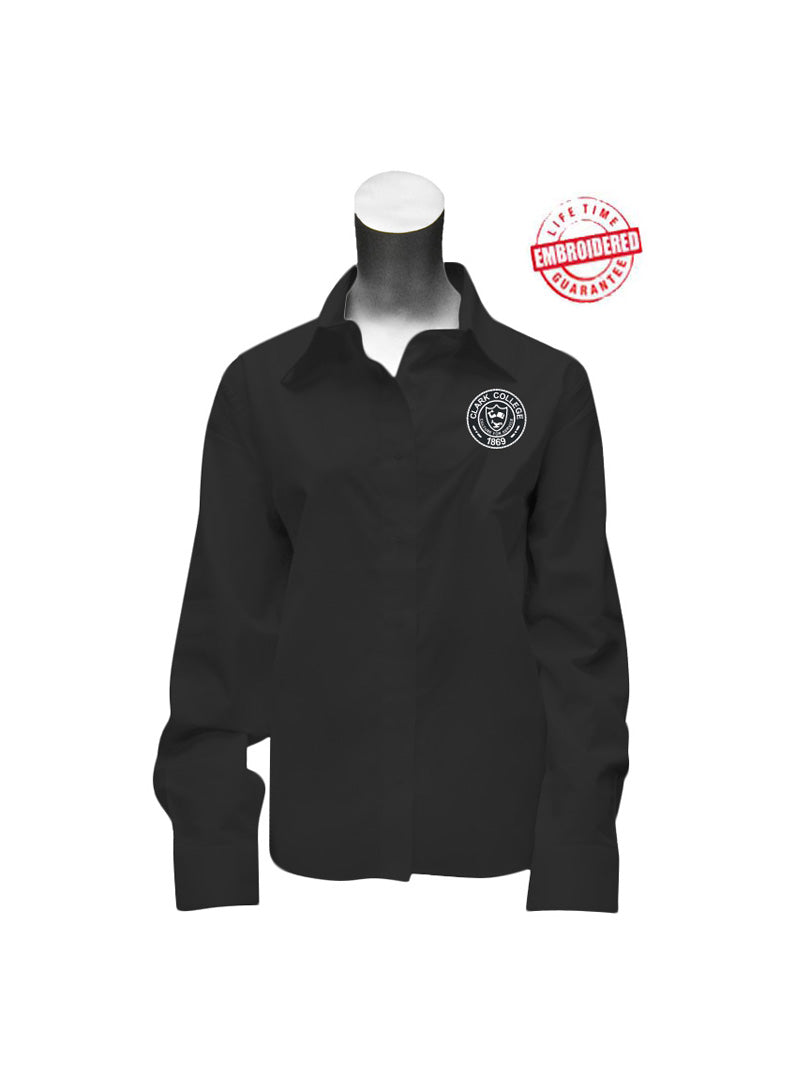 Clark College Ladies' Button Down Shirt with Logo, Black – EMBROIDERED with Lifetime Guarantee