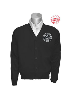 Clark College Logo Cardigan, Black – EMBROIDERED with Lifetime Guarantee