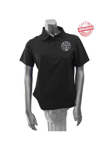 Clark College Ladies' Polo with Logo, Black – EMBROIDERED WITH LIFETIME GUARANTEE
