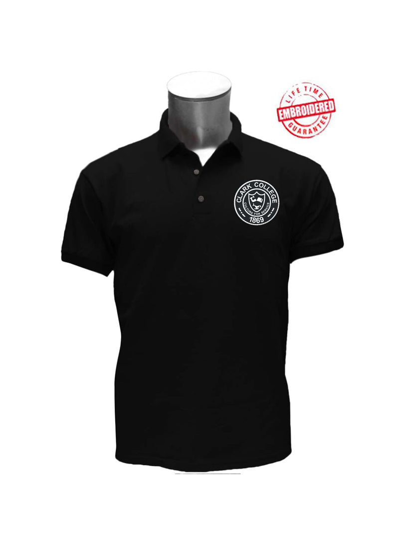 Clark College Men's Polo with Logo, Black – EMBROIDERED with Lifetime Guarantee