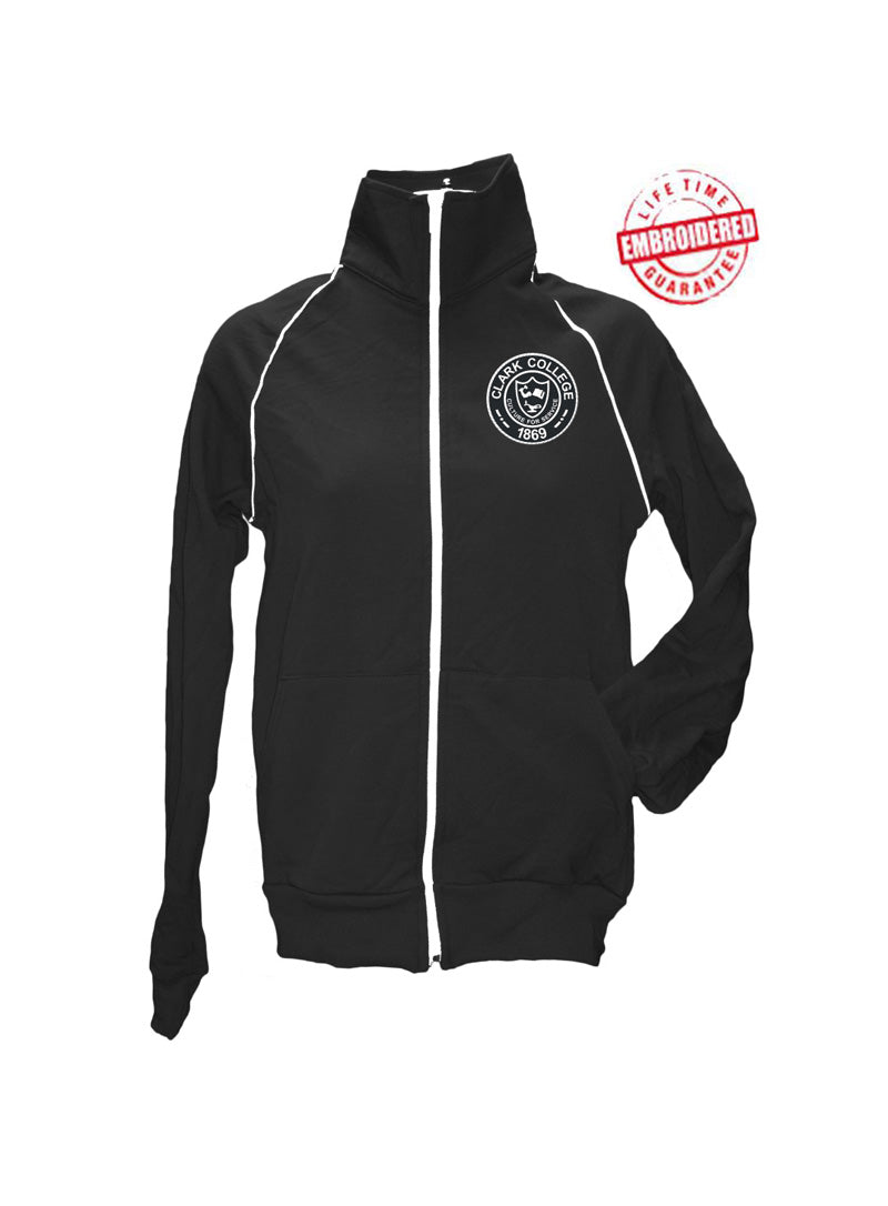 Clark College Ladies' Logo Track Jacket, Black – EMBROIDERED with Lifetime Guarantee