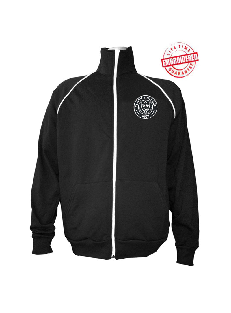 Clark College Men's Logo Track Jacket, Black – EMBROIDERED with Lifetime Guarantee