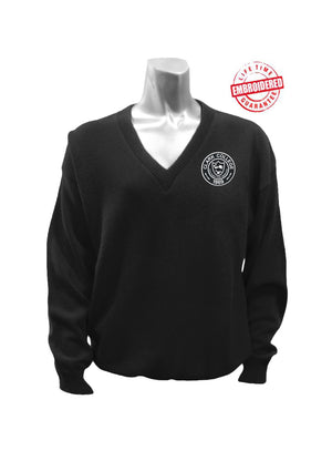 Clark College Logo V-Neck Sweater, Black – EMBROIDERED with Lifetime Guarantee