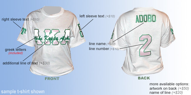 Custom Greek Crossing T-Shirt- Fraternity and Sorority Line Shirt- Embroidered with Lifetime Guarantee