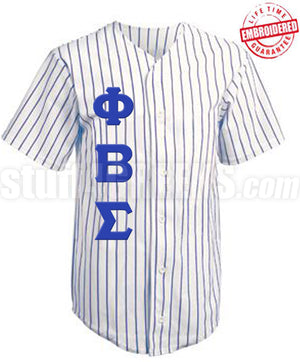 Custom Greek Cloth Pinstripe Baseball Jersey with Greek Letters Included (TW)- Embroidered with Lifetime Guarantee