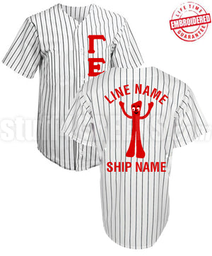 Fraternity/Sorority Deluxe Cloth Pinstripe Baseball Jersey (TW)- Embroidered with Lifetime Guarantee