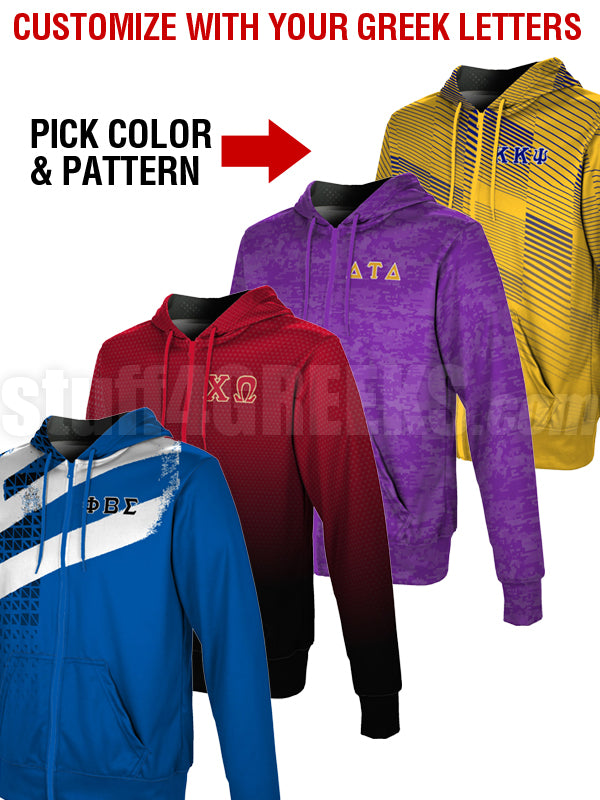 Custom Full Color Edge-to-Edge Sublimated Greek Full Zip-Up Hoodie (TW S0218)