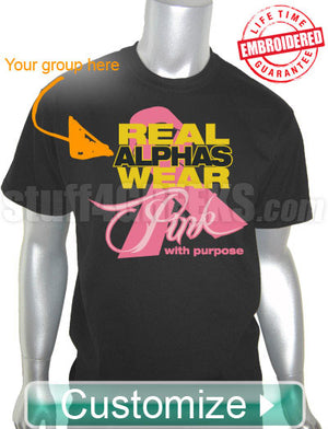 Custom Greek Fraternity Pink Ribbon (Breast) Cancer Awareness T-Shirt- Embroidered with Lifetime Guarantee