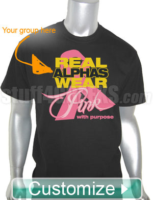 Custom Greek Fraternity Pink Ribbon Breast Cancer Awareness Screen Printed T-Shirt