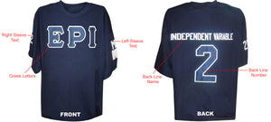 Fraternity/Sorority Standard Custom Crossing T-Shirt: Includes Front, Left and Right Sleeves, Back Line Name and Number- Embroidered with Lifetime Guarantee