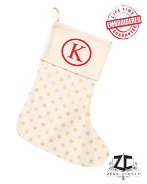 "Custom Embroidered ""Gold Dot"" Christmas Stocking"