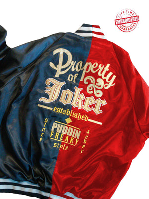 Harley Two-Toned Satin Baseball Jacket, Red/Blue – EMBROIDERED with Lifetime Guarantee